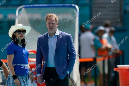 Commissioner Roger Goodell walks on the field ahead of an NFL football game between the Indianapolis Colts and the Miami Dolphins, in Miami Gardens, Fla