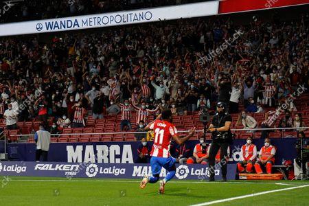 Thomas Lemar of Atletico de Madrid celebrates a goal