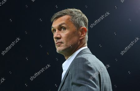 Stock Photo of AC Milan's technical director Paolo Maldini before the Italian Serie A soccer match between Atalanta BC and AC Milan at Gewiss Stadium in Bergamo, Italy, 03 October 2021.