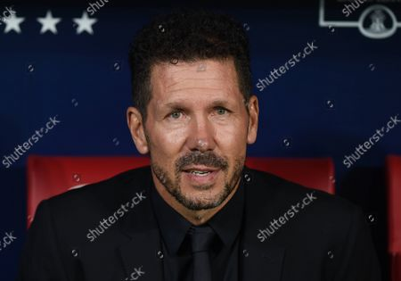 (211003) - MADRID, Oct. 3, 2021 (Xinhua) - Atletico de Madrid's coach Diego Simeone reacts before a Spanish first division league football match between Atletico de Madrid and FC Barcelona in Madrid, Spain, on Oct. 2, 2021.