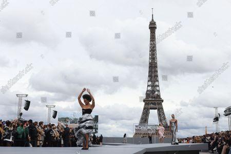 "Kat Graham attends the ""Le Defile L""Oreal Paris 2021"" show as part of Paris Fashion Week on October 03, 2021 in Paris, France."