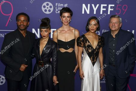 """Actor Andre Holland, from left, actress Ruth Negga, director Rebecca Hall, actress Tessa Thompson and Chief Executive Officer of Netflix Ted Sarandos attend a special screening of """"Passing"""" at Alice Tully Hall during the 59th New York Film Festival, in New York"""