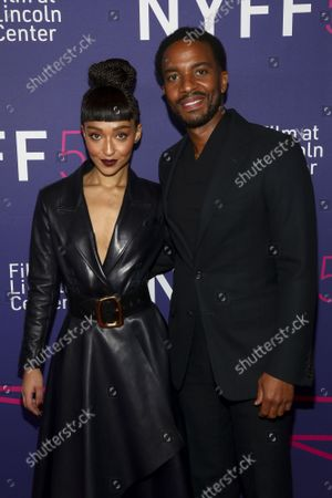 """Actress Ruth Negga, left, and actor Andre Holland, right, attend a special screening of """"Passing"""" at Alice Tully Hall during the 59th New York Film Festival, in New York"""