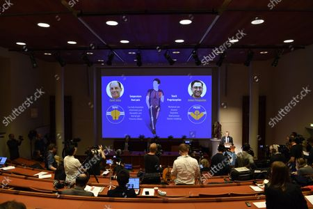 Nobel Committee member Patrik Ernfors (R) explains the 2021 Nobel Prize in Physiology or Medicine during a press conference at the Karolinska Institute in Stockholm, Sweden, 04 October 2021. The 2021 Nobel Prize in Physiology or Medicine has been awarded to David Julius and Ardem Patapoutian (seen on the screen) for their discoveries of receptors for temperature and touch.