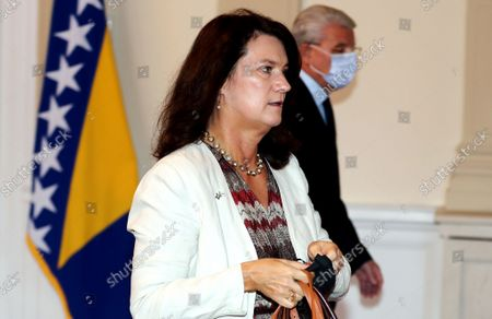 Swedish Minister of Foreign Affairs Ann Linde (L), comes to meeting, with members of Bosnian Presidency, in Sarajevo, Bosnia and Herzegovina, 04 October 2021.