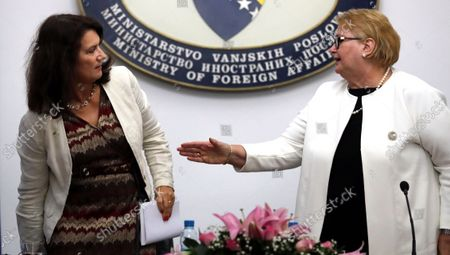 Foreign Minister of Bosnia and Herzegovina Bisera Turkovic (R) and Swedish Minister of Foreign Affairs Ann Linde (L) attend a joint press conference after a meeting in Sarajevo, Bosnia and Herzegovina, 04 October 2021.