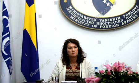 Stock Photo of Swedish Minister of Foreign Affairs Ann Linde attend a joint press conference after a meeting with the Foreign Minister of Bosnia and Herzegovina Bisera Turkovic (not pictured) in Sarajevo, Bosnia and Herzegovina, 04 October 2021.