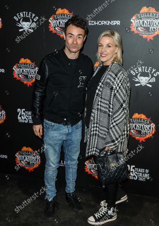 Stock Picture of Joseph McFadden (L) and guest attend the opening night of Shocktoberfest 2021 at Tulley's Farm in Crawley.