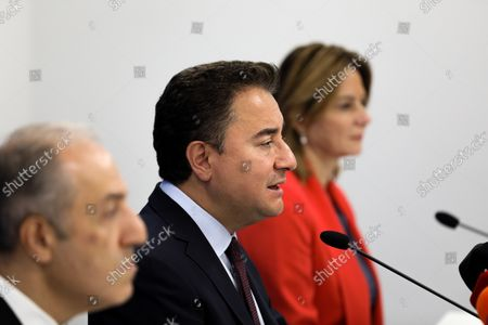 """DEVA Chairman Ali Babacan (M) speaks during a press conference. Democracy and Progress Party (DEVA) Chairman Ali Babacan announced the """"Reinforced Parliamentary System"""" work at the party's headquarters."""