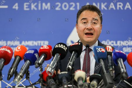 """DEVA Chairman Ali Babacan speaks during a press conference.  Democracy and Progress Party (DEVA) Chairman Ali Babacan announced the """"Reinforced Parliamentary System"""" work at the party's headquarters."""