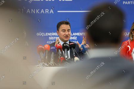 Editorial image of DEVA Chairman Ali Babacan at a press conference in Ankara, Turkey - 04 Oct 2021
