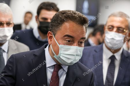 """DEVA Chairman Ali Babacan arrive at the press conference. Democracy and Progress Party (DEVA) Chairman Ali Babacan announced the """"Reinforced Parliamentary System"""" work at the party's headquarters."""