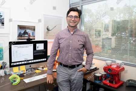 Stock Image of Ardem Patapoutian poses for a portrait in his office at the Dorris Neuroscience Center, in San Diego. Two scientists, Americans Patapoutian and David Julius, won the Nobel Prize in medicine for their discoveries into how the human body perceives temperature and touch