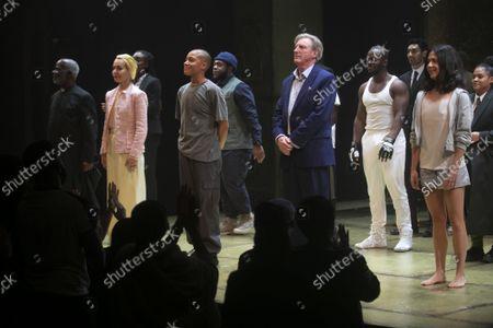 Joseph Marcell (Polonius), Tara Fitzgerald (Gertrude), Cush Jumbo (Hamlet) and Adrian Dunbar (Ghost/Claudius) during the curtain call