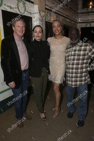 Stock Photo of Adrian Dunbar (Ghost/Claudius), Tara Fitzgerald (Gertrude), Cush Jumbo (Hamlet) and Joseph Marcell (Polonius)