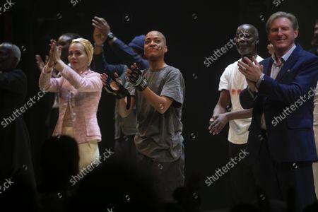 Stock Picture of Tara Fitzgerald (Gertrude), Cush Jumbo (Hamlet) and Adrian Dunbar (Ghost/Claudius) during the curtain call