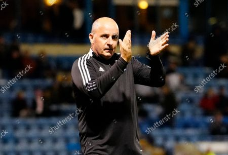 Paul Cook Ipswich Town Manager applauds the Ipswich fans BEFORE kick off