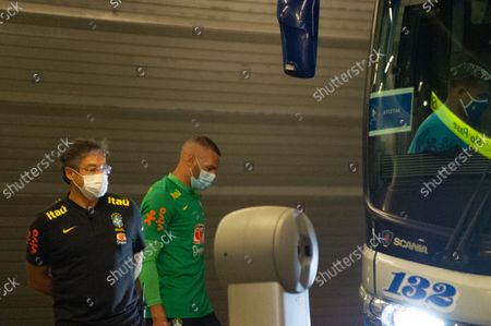 Brazil's football team Weverton as members of the Brazil federation of football team board their bus at the Grand Hyatt Hotel in Bogota, Colombia to be transported to the Techo stadium for practice against the qualifying matches between Venezuela and Colombia, on October 4, 2021.