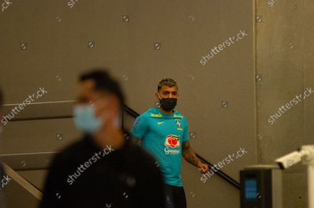 Brazil football team member Gabigol as members of the Brazil federation of football team board their bus at the Grand Hyatt Hotel in Bogota, Colombia to be transported to the Techo stadium for practice against the qualifying matches between Venezuela and Colombia, on October 4, 2021.