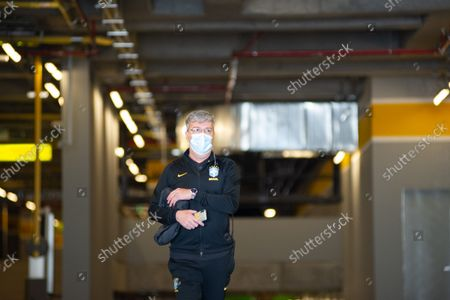A logistic member of the security of Brazil's national football team is seen as members of the Brazil federation of football team board their bus at the Grand Hyatt Hotel in Bogota, Colombia to be transported to the Techo stadium for practice against the qualifying matches between Venezuela and Colombia, on October 4, 2021.