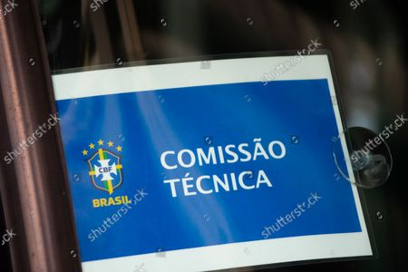 A sign that reads 'technical committee' in a bus as members of the Brazil federation of football team board their bus at the Grand Hyatt Hotel in Bogota, Colombia to be transported to the Techo stadium for practice against the qualifying matches between Venezuela and Colombia, on October 4, 2021.