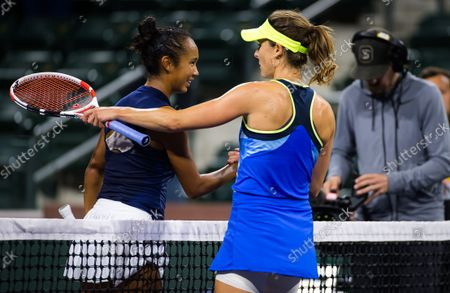 Leylah Fernandez of Canada & Alize Cornet of France in action during the second round of the 2021 BNP Paribas Open WTA 1000 tennis tournament
