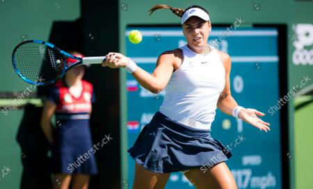 Stock Picture of Ana Konjuh of Croatia in action during the second round at the 2021 BNP Paribas Open WTA 1000 tennis tournament