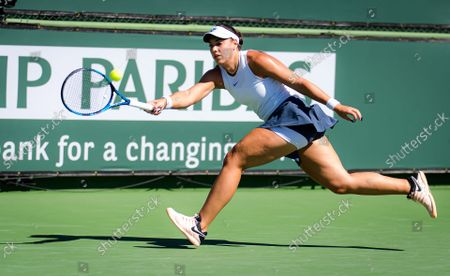 Stock Photo of Ana Konjuh of Croatia in action during the second round at the 2021 BNP Paribas Open WTA 1000 tennis tournament