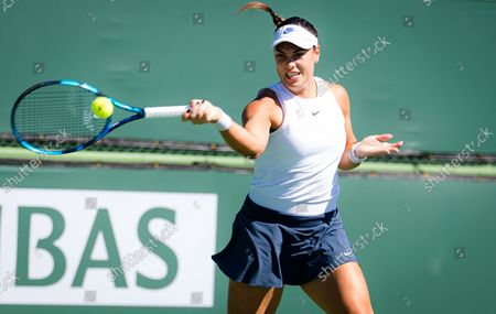 Ana Konjuh of Croatia in action during the second round at the 2021 BNP Paribas Open WTA 1000 tennis tournament