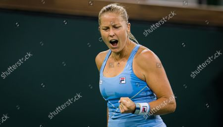 Shelby Rogers of the United States in action during the quarter-finals of the 2021 BNP Paribas Open WTA 1000 tennis tournament