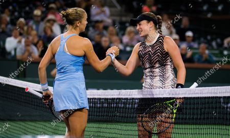 Shelby Rogers of the United States & Jelena Ostapenko of Latvia in action during the quarter-finals of the 2021 BNP Paribas Open WTA 1000 tennis tournament