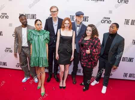 """; Bristol, UK. """"The Outlaws"""" film world premiere at the Watershed independent cinema and creative technology centre. Cast members l-r: Charles Babalola, Rhianne Barreto, Stephen Merchant, Eleanor Tomlinson, Darren Boyd, Jessica Gunning, Gamba Cole. The Outlaws (formerly known as The Offenders) follows seven strangers from different walks of life forced together to complete a Community Payback sentence in Bristol. The Outlaws was created by Stephen Merchant and Elgin James."""
