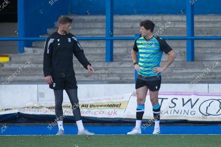Rhys Priestland and Lloyd Williams during a Cardiff Rugby training session