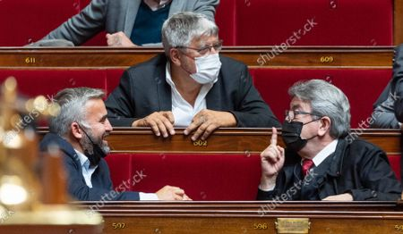Stock Photo of Alexis Corbiere, Eric Coquerel and Jean-Luc Melenchon during the weekly session of questions to the government at the French National Assembly.