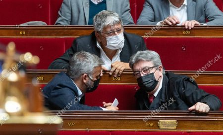 Alexis Corbiere, Eric Coquerel and Jean-Luc Melenchon during the weekly session of questions to the government at the French National Assembly.