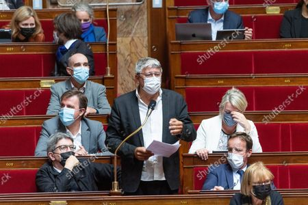 Stock Image of Jean-Luc Melenchon and Eric Coquerel during the weekly session of questions to the government at the French National Assembly.