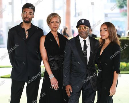 Stock Picture of Jackson Lee, Tonya Lewis Lee, Spike Lee and Satchel Lee arrive at the Academy Museum of Motion Pictures Opening Gala held at the Academy Museum of Motion Pictures on September 25, 2021 in Los Angeles, California, United States.