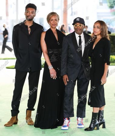 Stock Image of Jackson Lee, Tonya Lewis Lee, Spike Lee and Satchel Lee arrive at the Academy Museum of Motion Pictures Opening Gala held at the Academy Museum of Motion Pictures on September 25, 2021 in Los Angeles, California, United States.