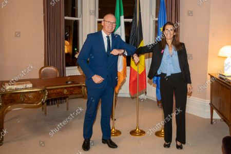 Irish Foreign Minister Simon Coveney and Belgian Foreign Minister Sophie Wilmes pictured during a work meeting on the first day of the official visit of the Belgian Foreign Minister to Ireland and the United Kingdom, Tuesday 05 October 2021.