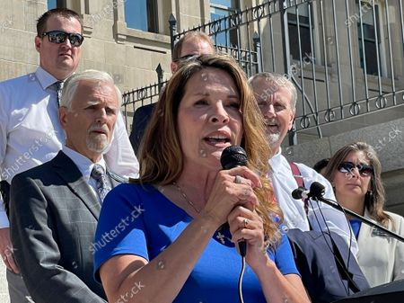 Republican Lt. Gov. Janice McGeachin addresses a rally on the Statehouse steps in Boise, Idaho. Idaho Gov. Brad Little said he will rescind an executive order involving COVID-19 vaccines by McGeachin, and the commanding general of the Idaho National Guard also on Tuesday, Oct. 5 told McGeachin she can't activate troops to send to the U.S.-Mexico border. Little and Major General Michael J. Garshak made the decisions as McGeachin attempted to exercise her authority as acting governor with Little out of the state