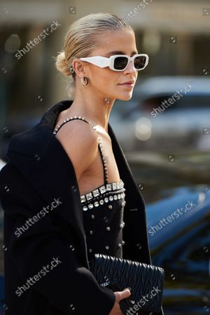 Caroline Daur, Street Style , Miu Miu Spring Summer 2022 show, Paris Fashion Week