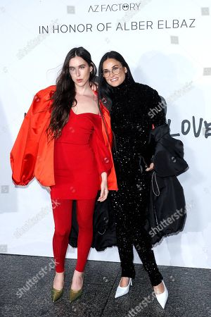"""Scout LaRue Willis and Demi Moore wait for the """"Love Brings Love"""" Show """"In Honor Of Alber Elbaz By AZ Factory at Le Carreau Du Temple"""