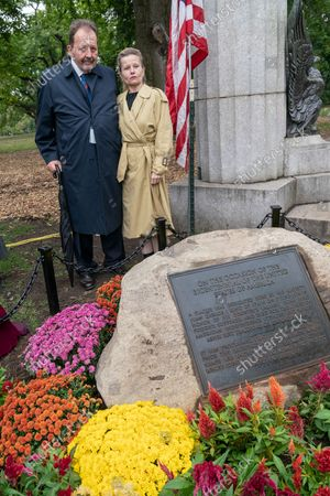 Former Consul General of Spain in New York Rafael Conde de Saro and current Consul General of Spain in New York Caridad Batalla Junco attend unveiling of the new Spanish Memorial Plaque in Fort Greene Park. The original plaque was presented by King Juan Carlos of Spain and dedicated in 1976 to honor the country's bicentennial and commemorate the Spanish and Spanish-speaking contributions to American freedom during the Revolution. The plaque was later removed from its horizontal granite plinth because of its compromised condition and is now on view in the park's visitor center.