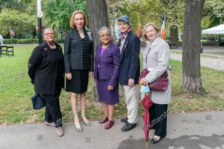 Muriel Roberts, Melinda Allison, Vice-Regent of Manhattan Chapter of National Society of the Daughters of the American Revolution Linda Rhodes Jones, Janet Skinner, Eugenia Askren attend unveiling of the new Spanish Memorial Plaque in Fort Greene Park. The original plaque was presented by King Juan Carlos of Spain and dedicated in 1976 to honor the country's bicentennial and commemorate the Spanish and Spanish-speaking contributions to American freedom during the Revolution. The plaque was later removed from its horizontal granite plinth because of its compromised condition and is now on view in the park's visitor center.
