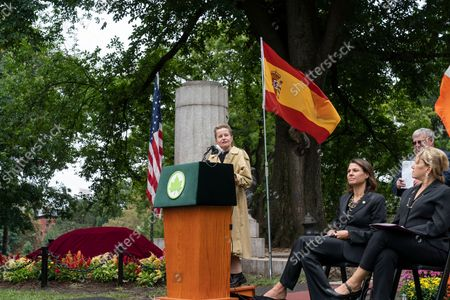 General Consul of Spain in New York Caridad Batalla Junco speaks during unveiling of the new Spanish Memorial Plaque in Fort Greene Park. The original plaque was presented by King Juan Carlos of Spain and dedicated in 1976 to honor the country's bicentennial and commemorate the Spanish and Spanish-speaking contributions to American freedom during the Revolution. The plaque was later removed from its horizontal granite plinth because of its compromised condition and is now on view in the park's visitor center.