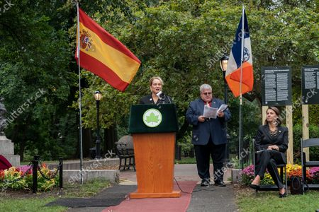 Queen Sofia Spanish Institute Executive Director Patrice Degnan Erquicia speaks during unveiling of the new Spanish Memorial Plaque in Fort Greene Park. The original plaque was presented by King Juan Carlos of Spain and dedicated in 1976 to honor the countryâ€s bicentennial and commemorate the Spanish and Spanish-speaking contributions to American freedom during the Revolution. The plaque was later removed from its horizontal granite plinth because of its compromised condition and is now on view in the park's visitor center.