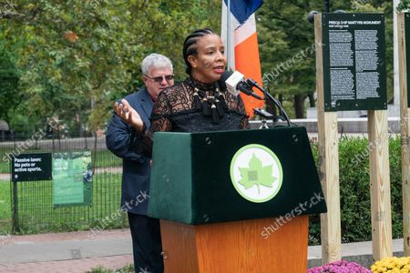 NYC Council Majority Leader Laurie Cumbo speaks during unveiling of the new Spanish Memorial Plaque in Fort Greene Park. The original plaque was presented by King Juan Carlos of Spain and dedicated in 1976 to honor the countryâ€s bicentennial and commemorate the Spanish and Spanish-speaking contributions to American freedom during the Revolution. The plaque was later removed from its horizontal granite plinth because of its compromised condition and is now on view in the park's visitor center.