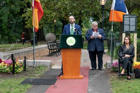 Avangrid (Iberdrola Group) Senior Vice President - Chief of Staff Manuel Gonzalez Igual speaks during unveiling of the new Spanish Memorial Plaque in Fort Greene Park. The original plaque was presented by King Juan Carlos of Spain and dedicated in 1976 to honor the countryâ€s bicentennial and commemorate the Spanish and Spanish-speaking contributions to American freedom during the Revolution. The plaque was later removed from its horizontal granite plinth because of its compromised condition and is now on view in the park's visitor center.