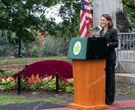 NYC Parks Commissioner Gabrielle Fialkoff speaks during unveiling of the new Spanish Memorial Plaque in Fort Greene Park. The original plaque was presented by King Juan Carlos of Spain and dedicated in 1976 to honor the country's bicentennial and commemorate the Spanish and Spanish-speaking contributions to American freedom during the Revolution. The plaque was later removed from its horizontal granite plinth because of its compromised condition and is now on view in the park's visitor center.