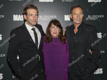"""Director Fran Kranz, from left, and actors Ann Dowd and Jason Isaacs attend a special screening of """"Mass"""" at Metrograph, in New York"""